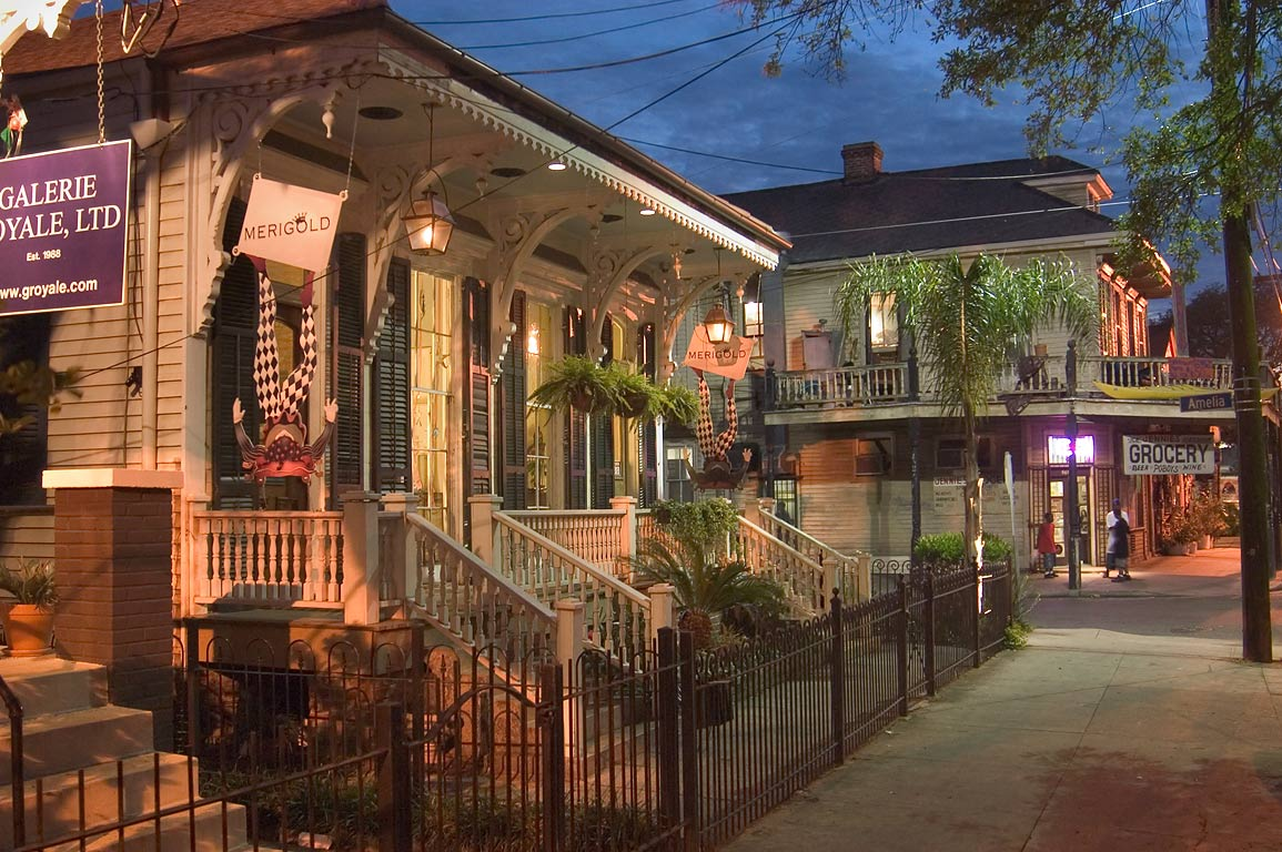 "Merigold"" and grocery shops at a corner of...Amelia streets. New Orleans, Louisiana"