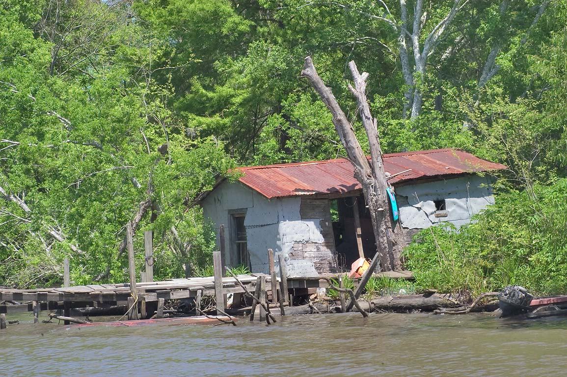 A fishing cabin in Bayou Segnette. New Orleans, Louisiana