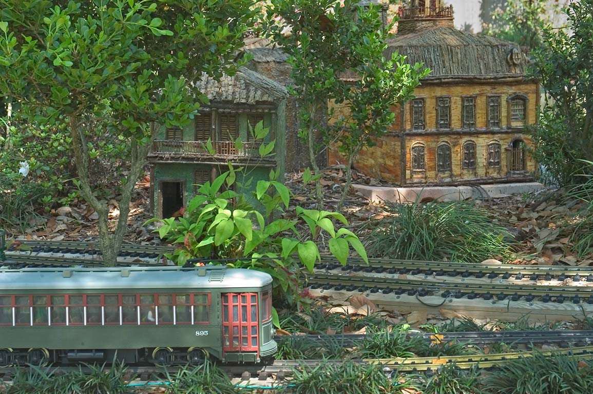 A streetcar model and scaled examples of New...Orleans Botanical Garden. Louisiana