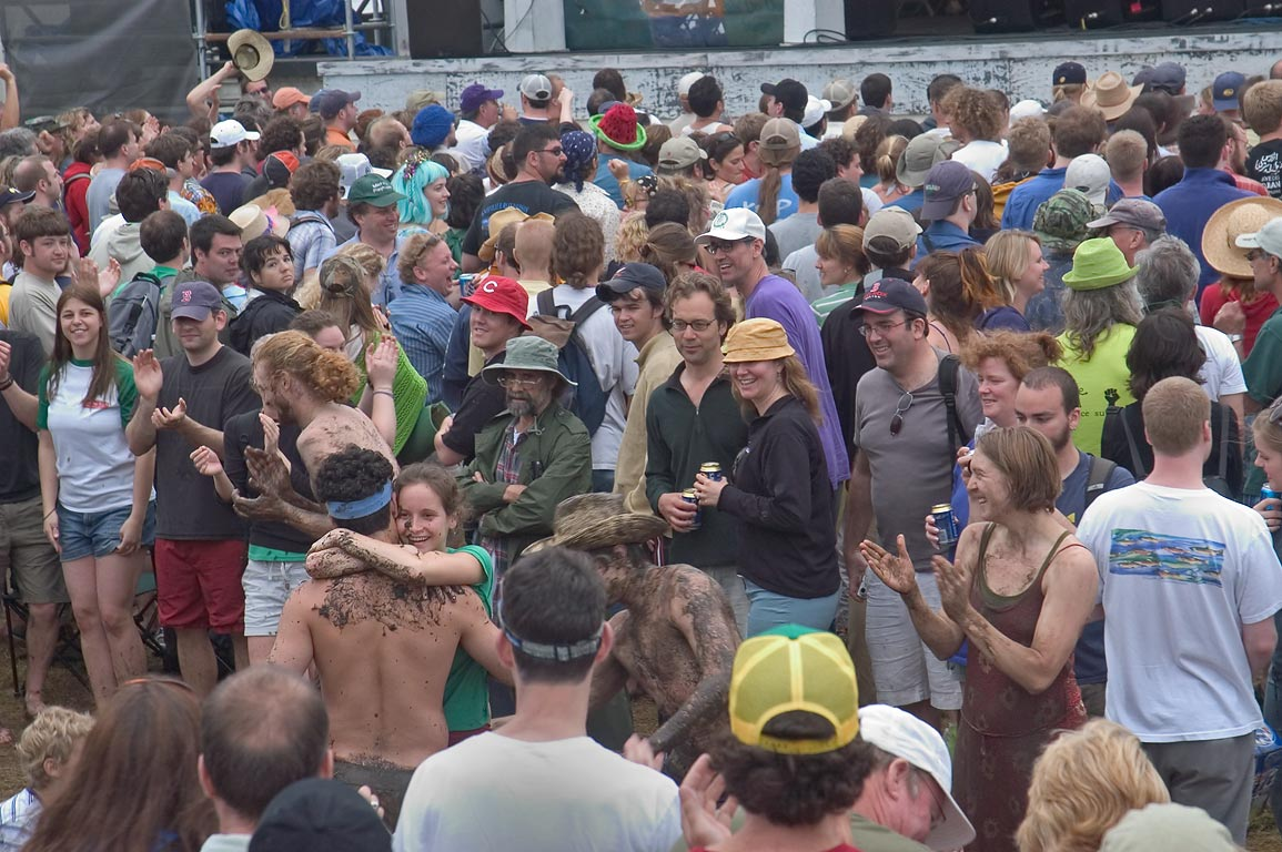 Spectators dancing near Fais Do-do Stage after a...Jazzfest. New Orleans, Louisiana