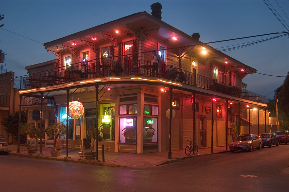 Balcony Bar and Cafe at a corner of Harmony and Magazine St.. New Orleans, Louisiana
