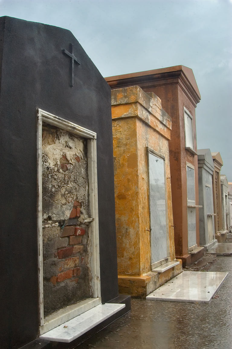 Tombs of St.Louis Cemetery No. 1, at rain. New Orleans, Louisiana