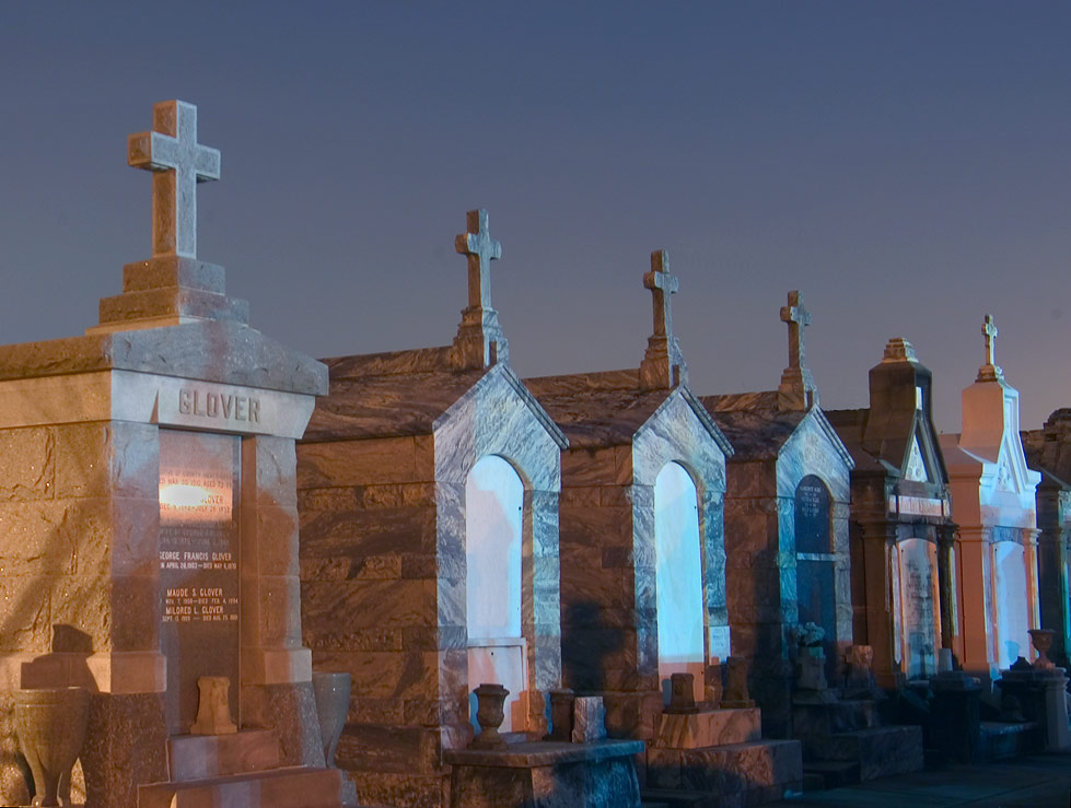 Tombs of St.Vincent Cemetery at evening, view from Soniat St.. New Orleans, Louisiana