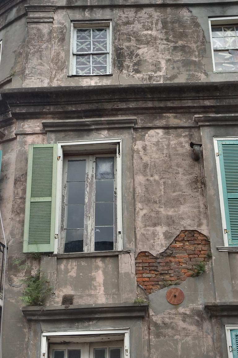 Pedesclaux-Lemonnier House battered by hurricanes...French Quarter. New Orleans, Louisiana