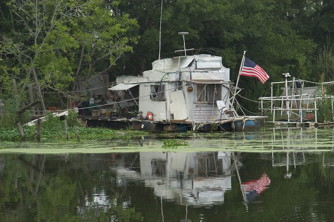 A fishing shack in Bayou Grand Caillou near Rd. 57, Terrebonne Parish. Louisiana