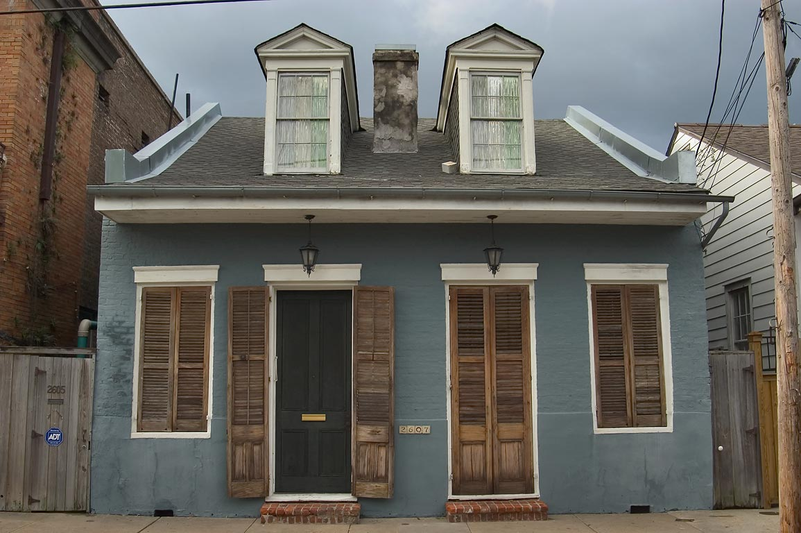 A Creole cottage house near Burgundy St. in Faubourg Marigny. New Orleans, Louisiana
