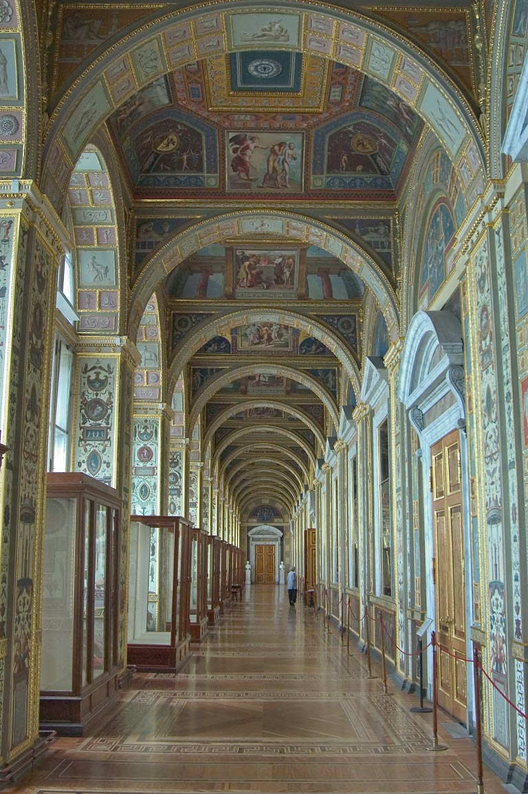 A gallery of the Raphael Loggias in Hermitage Museum. St.Petersburg, Russia