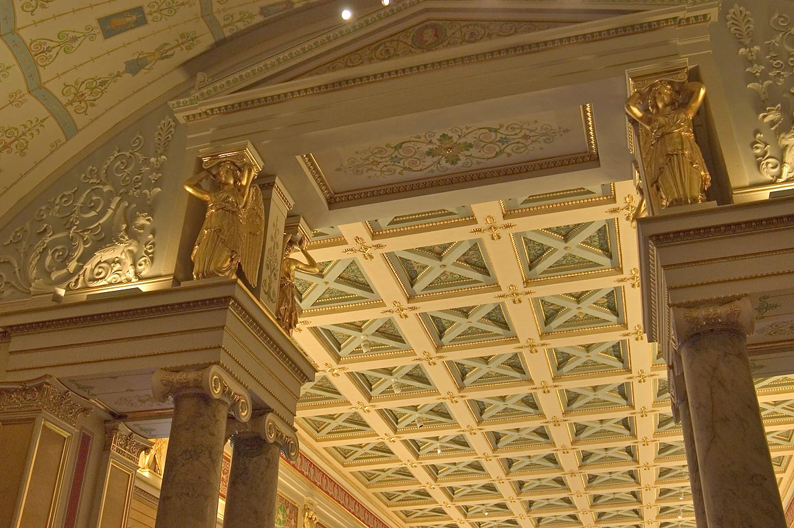 Ceiling of Majolica Room in Hermitage Museum. St.Petersburg, Russia