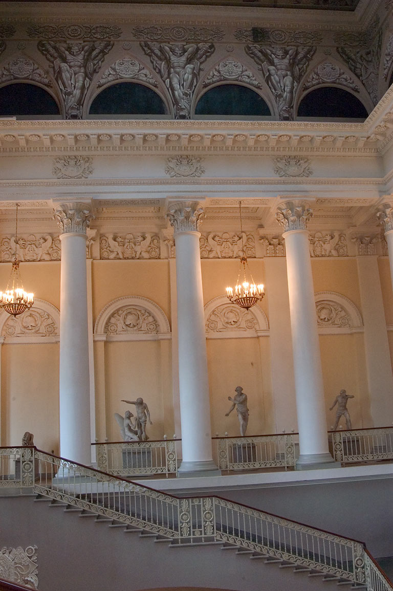 Entrance stairs and colonnade of Russian Museum. St.Petersburg, Russia