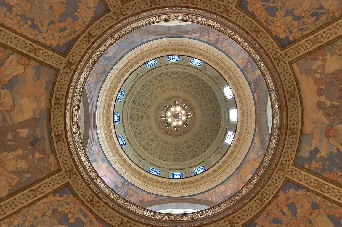 Interior of the dome of Missouri State Capitol...first floor. Jefferson City, Missouri