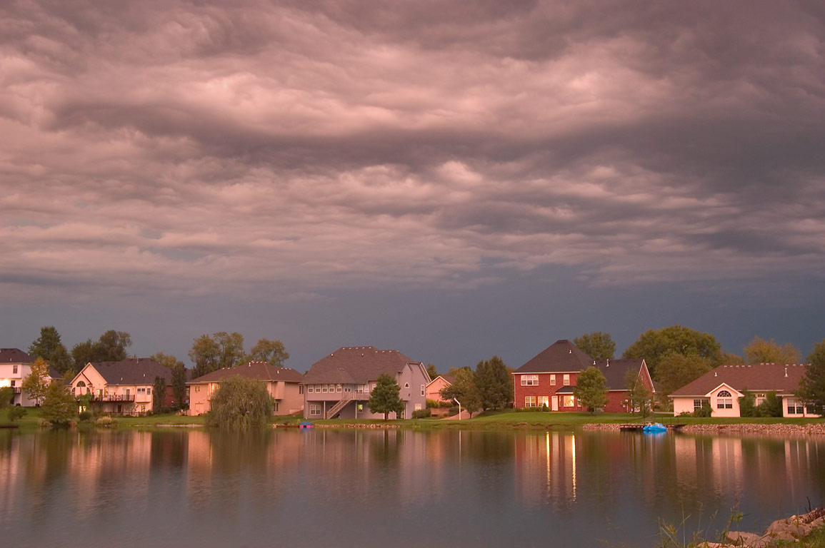 Twin Lakes at evening, after rain. Columbia, Missouri