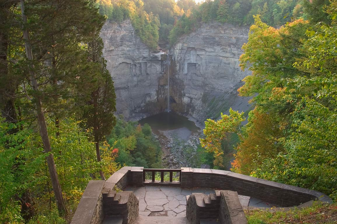 Taughannock Falls near Ithaca from upper overlook...Falls at high water). New York