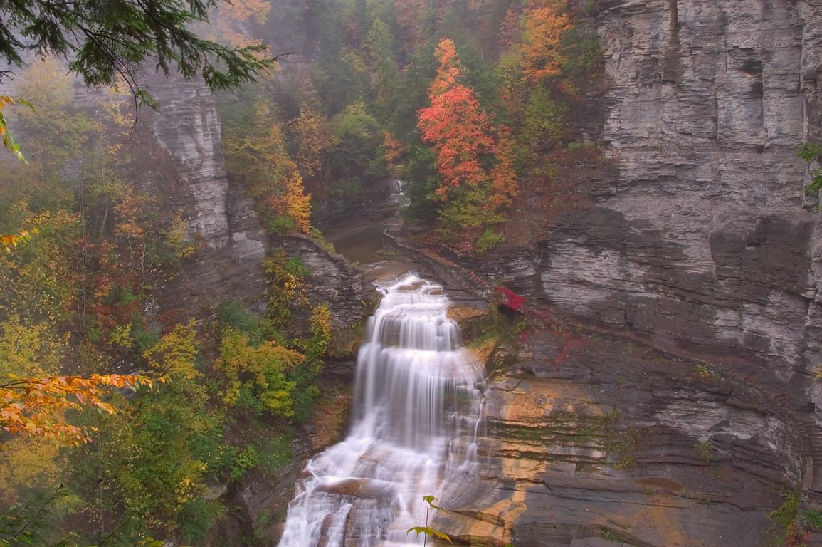 Enfield gorge and Lucifer Falls in Robert H. Treman State Park near Ithaca. New York