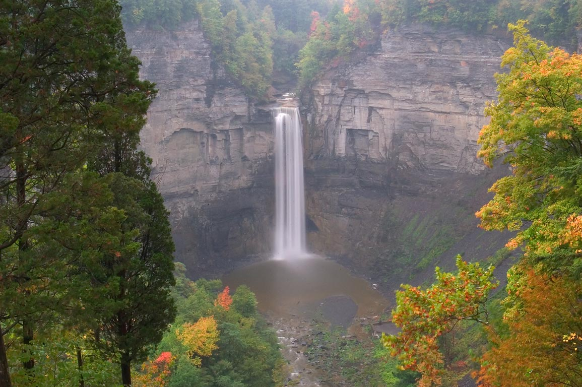 Taughannock Falls near Ithaca, view from upper falls overlook. New York