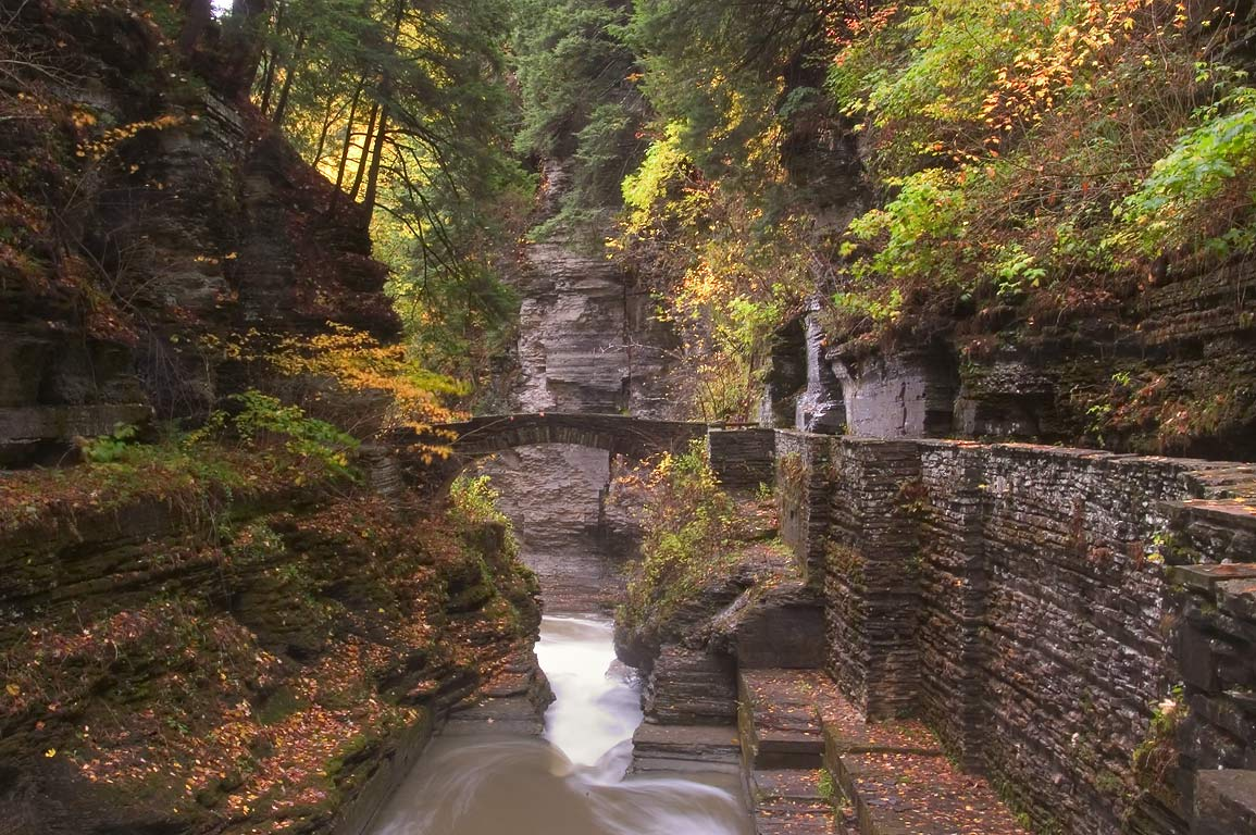 A stone bridge in Robert H. Treman State Park. Ithaca, New York