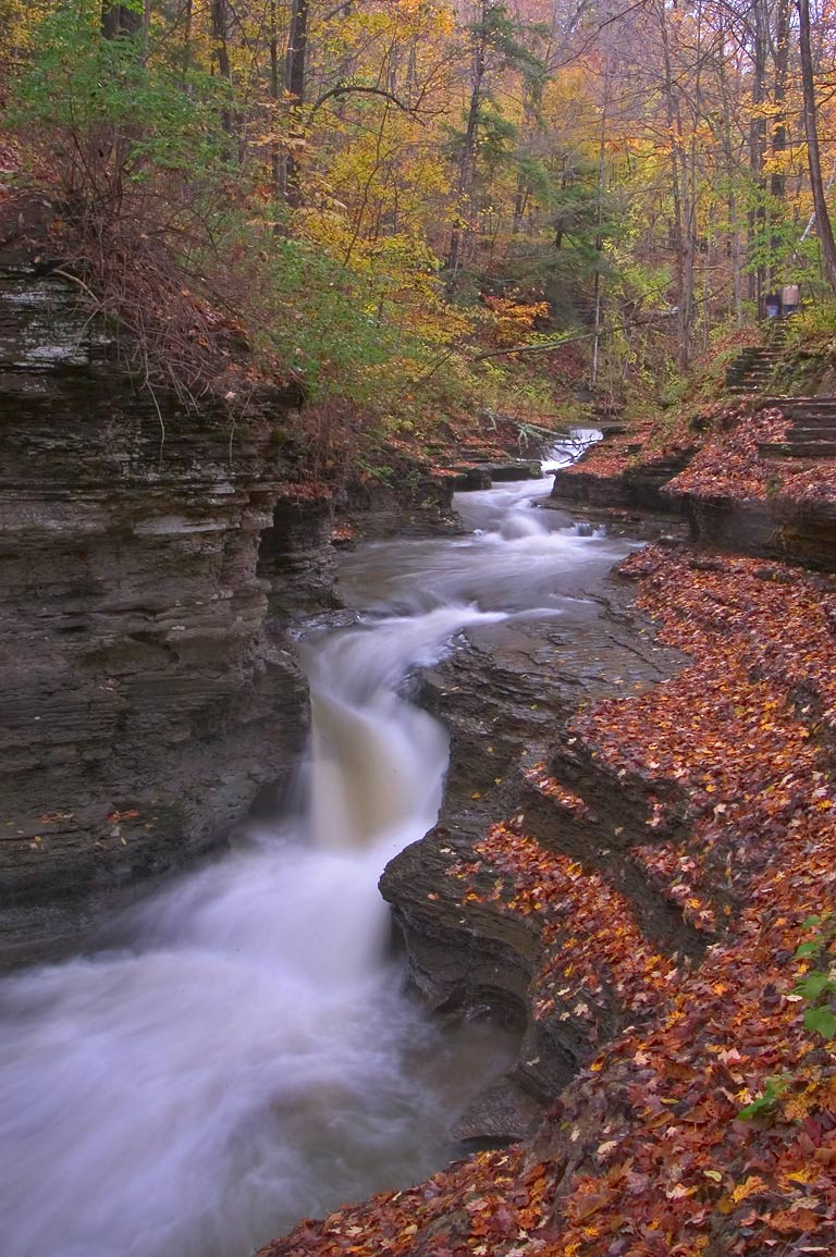 A waterfall in Buttermilk Falls State Park, near upper entrance. Ithaca, New York