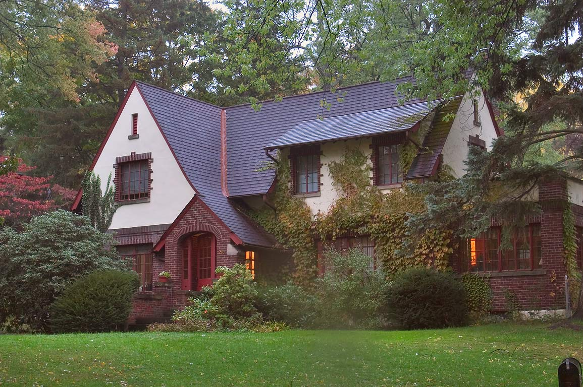A house in Cayuga Heights neighborhood. Ithaca, New York
