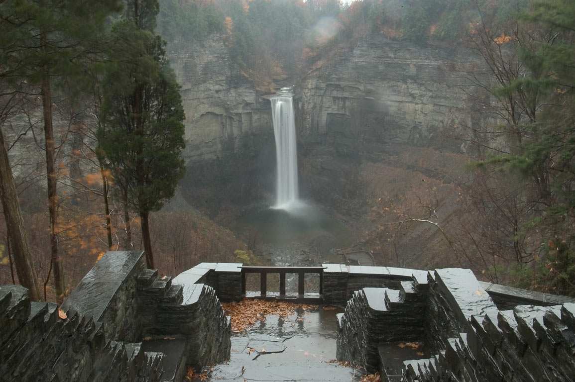 Taughannock Falls, view from upper falls overlook at rain. Ithaca, New York