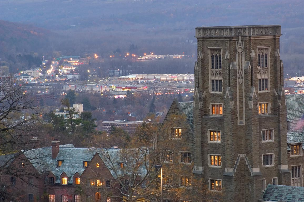 McFaddin Hall of Cornell University and Cayuga...view from Libe Slope. Ithaca, New York