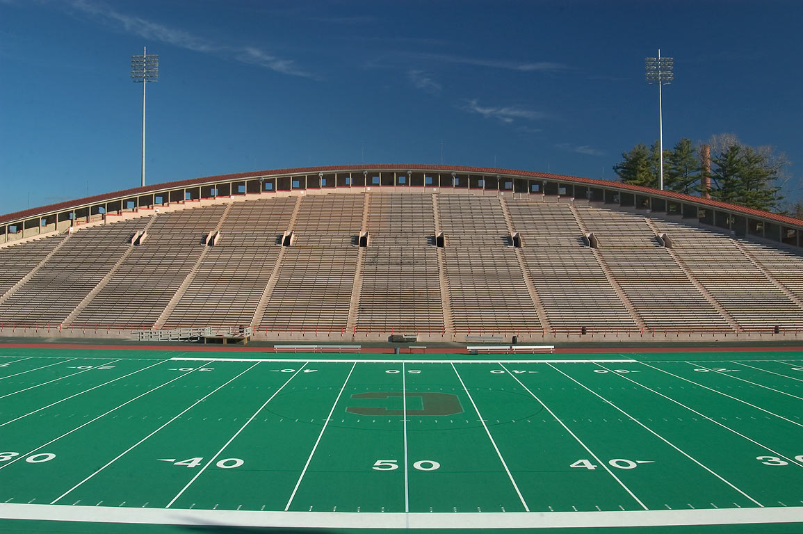 Schoellkopf Field of Cornell University, view from west side. Ithaca, New York