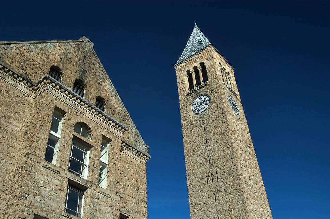 Uris Library and Jennie McGraw Tower of Cornell University. Ithaca, New York