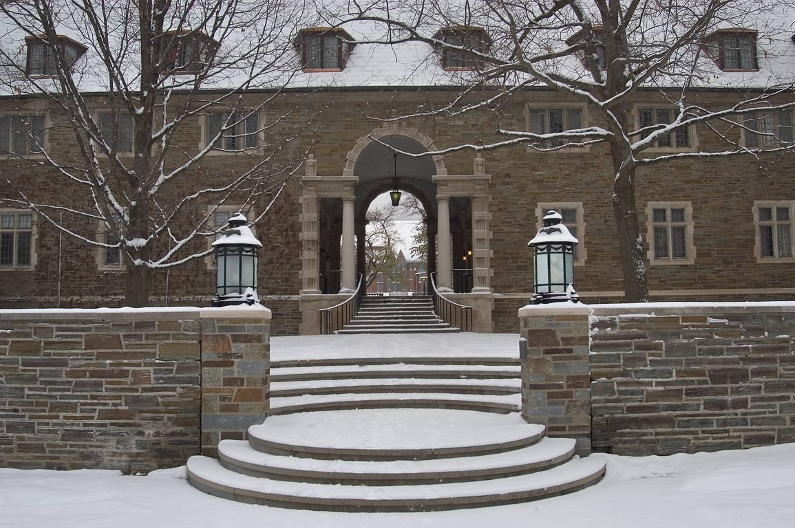 Balch Hall of Cornell University, in snow. Ithaca, New York