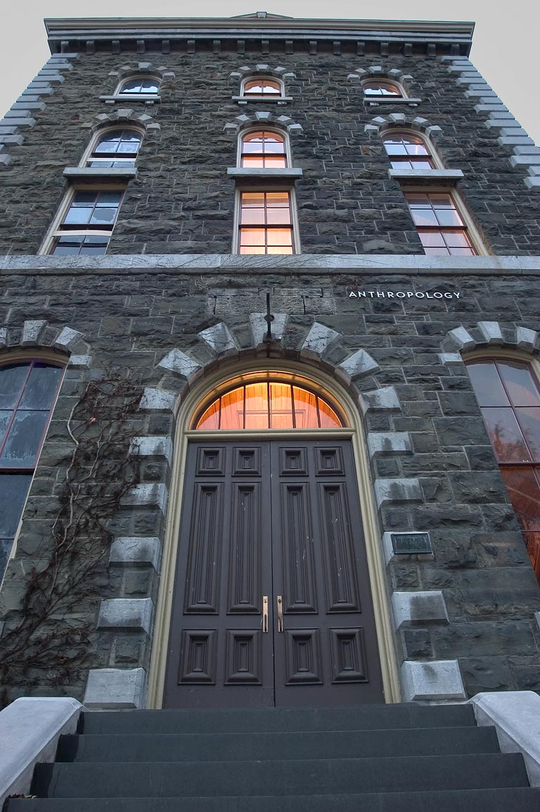 A door of White Hall of Cornell University. Ithaca, New York
