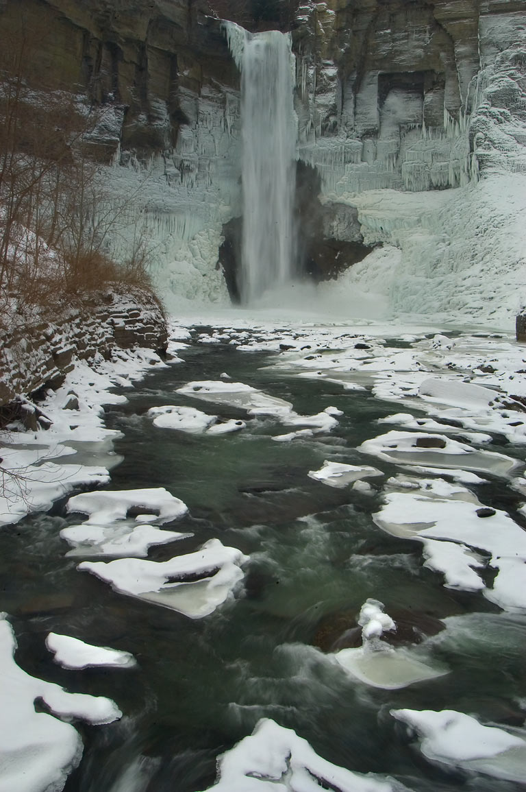 Frozen Taughannock Falls near Ithaca, view from a bridge. New York