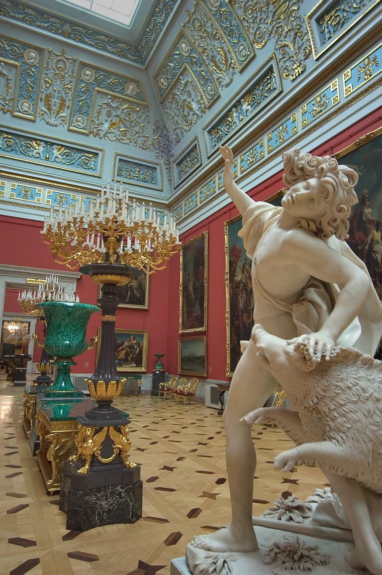 A sculpture and Italian art in Hermitage Museum. St.Petersburg, Russia