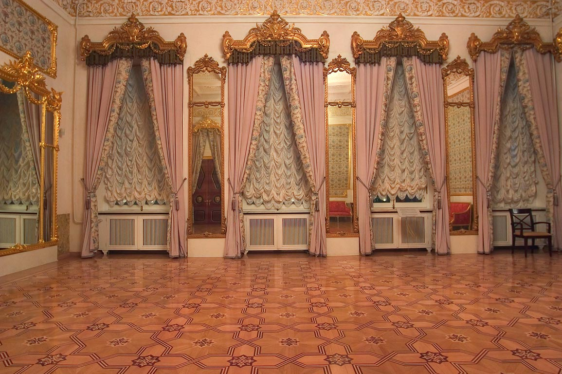 Stroganov Palace, a hall and a parquet floor. St.Petersburg, Russia