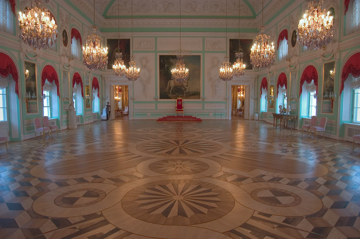 Grand Palace in Peterhof, a hall. Near St.Petersburg, Russia