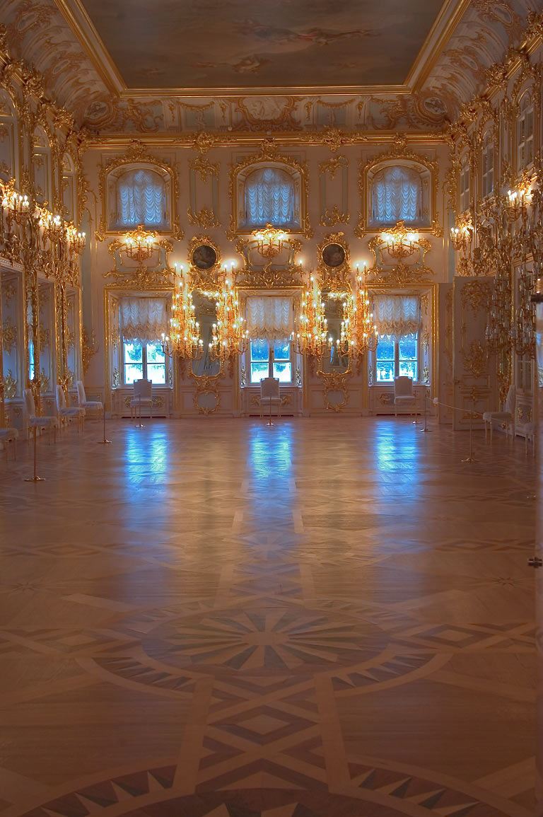 Grand Palace in Peterhof, a ball hall. Near St.Petersburg, Russia