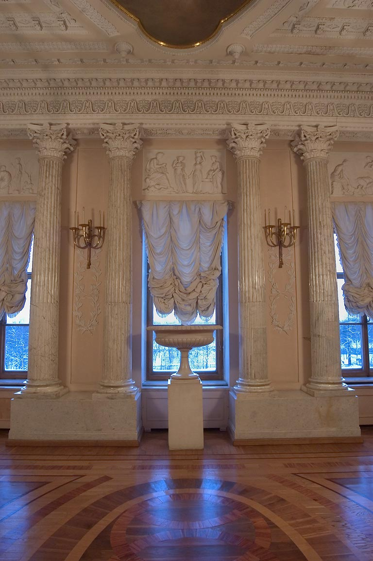 Marble columns in Gatchina Palace near St.Petersburg. Russia