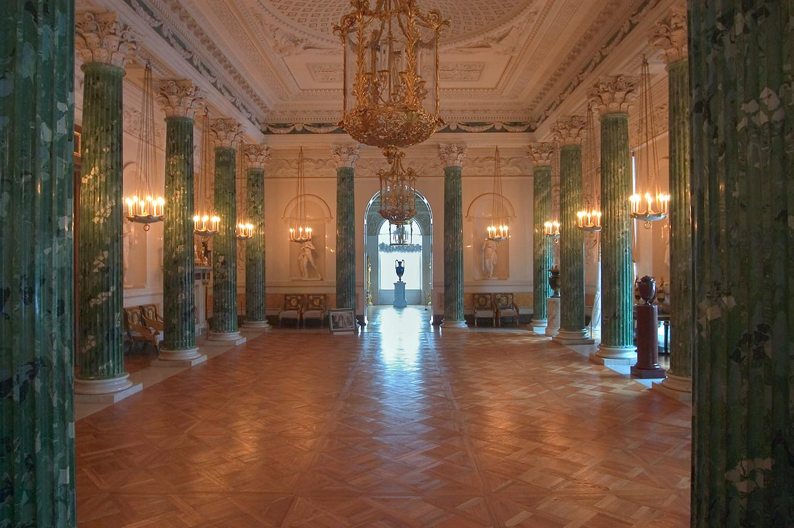 A large hall in Pavlovsky Palace. Pavlovsk, suburb of St.Petersburg, Russia