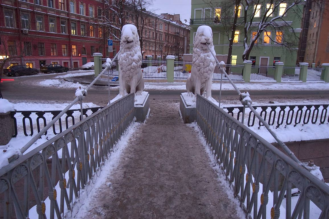 Lion suspension bridge near Sennaya Square at evening. St.Petersburg, Russia