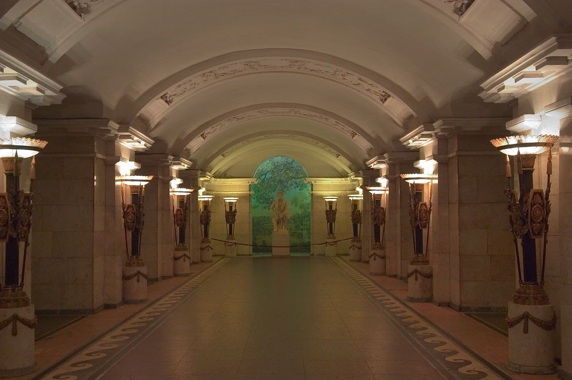 Metro (subway) station Pushkinskaya, named after a Russian poet. St.Petersburg, Russia