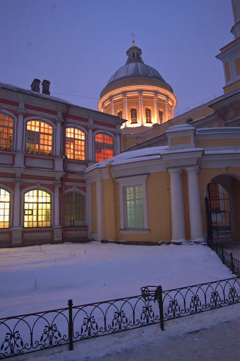 Entrance of Alexandr Nevsky Monastery (Aleksandro...at evening. St.Petersburg, Russia