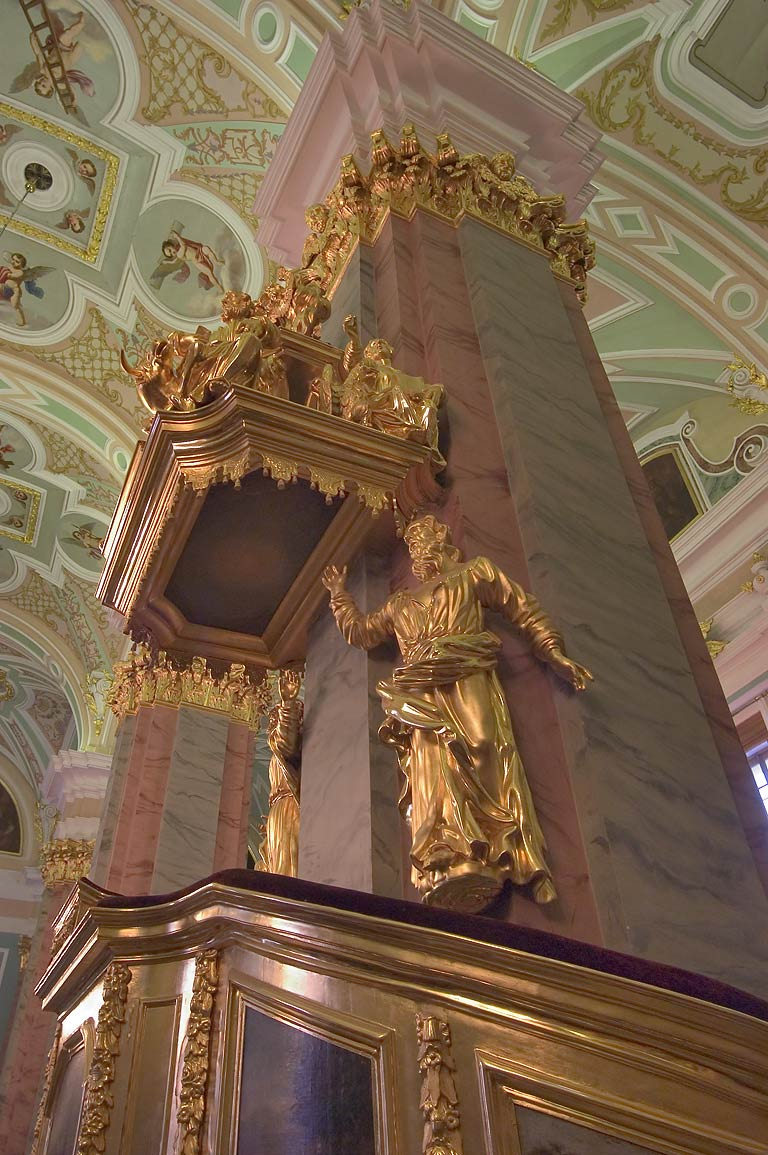 A column and a sculpture in Peter and Paul Cathedral. St.Petersburg, Russia