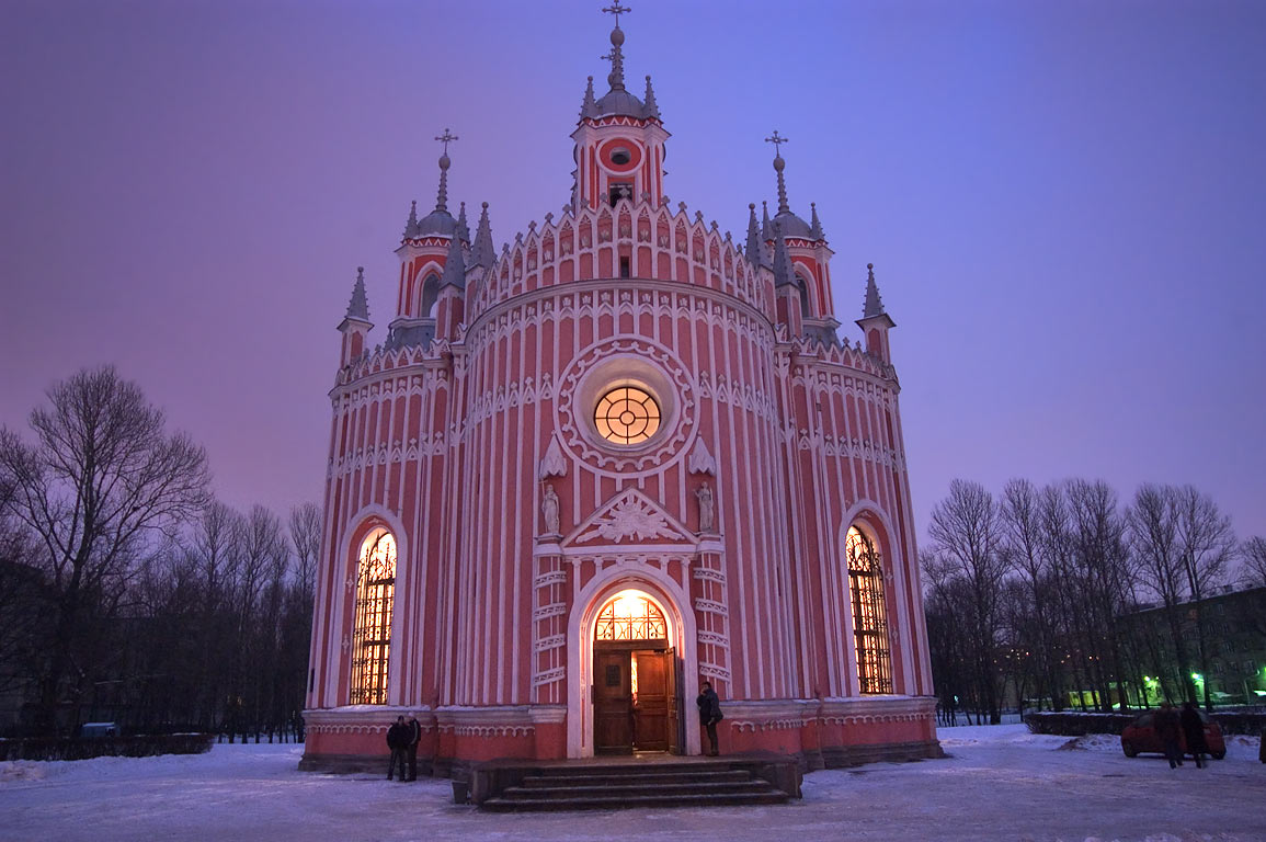 Chesma (Chesmenskaya) Church at evening. St.Petersburg, Russia