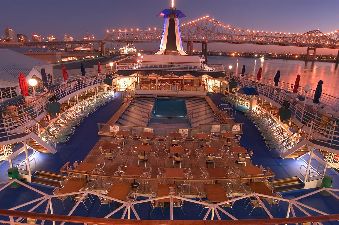 "Upper deck of cruise ship ""Dream Princess...before sunrise. New Orleans, Louisiana"