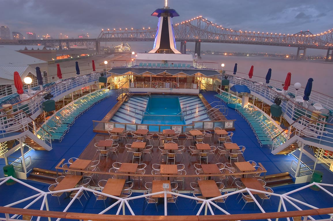 "Upper deck of cruise ship ""Dream Princess...at evening. New Orleans, Louisiana"