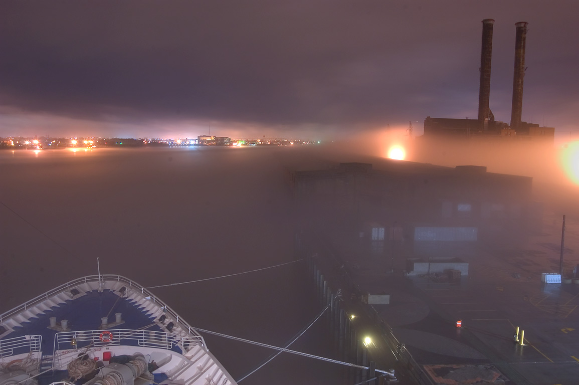 "A prow of cruise ship ""Dream Princess...fog at night. New Orleans, Louisiana"