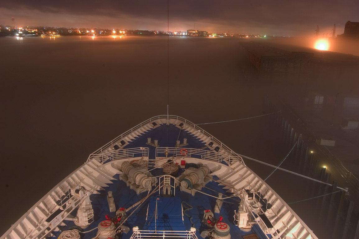 "The prow of cruise ship ""Dream Princess...night in fog. New Orleans, Louisiana"