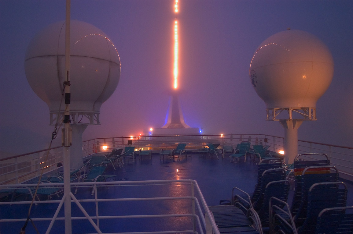 "Radars on the upper deck of cruise ship ""Dream...early morning. New Orleans, Louisiana"