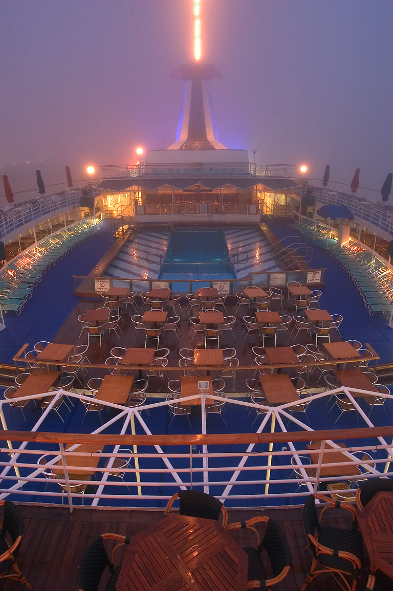 Upper deck with entertainment facilities of...fog at morning. New Orleans, Louisiana