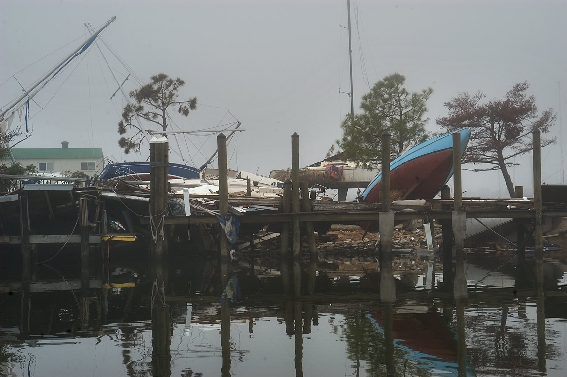 Scattered yachts in Orleans marina at Lake...Blvd.. New Orleans, Louisiana