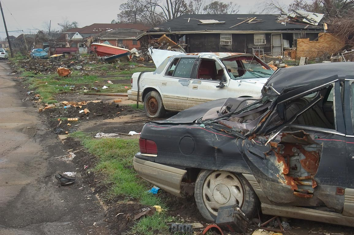 Damaged cars near Andry Street in Lower Ninth Ward. New Orleans, Louisiana