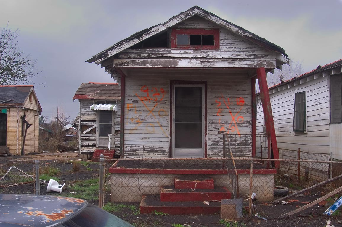 A damaged shotgun house near Deslonde Street in Lower Ninth Ward. New Orleans, Louisiana