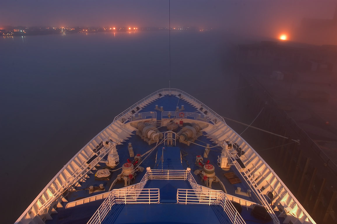 The prow of the ship in fog, view from a cruise...St. Wharf. New Orleans, Louisiana