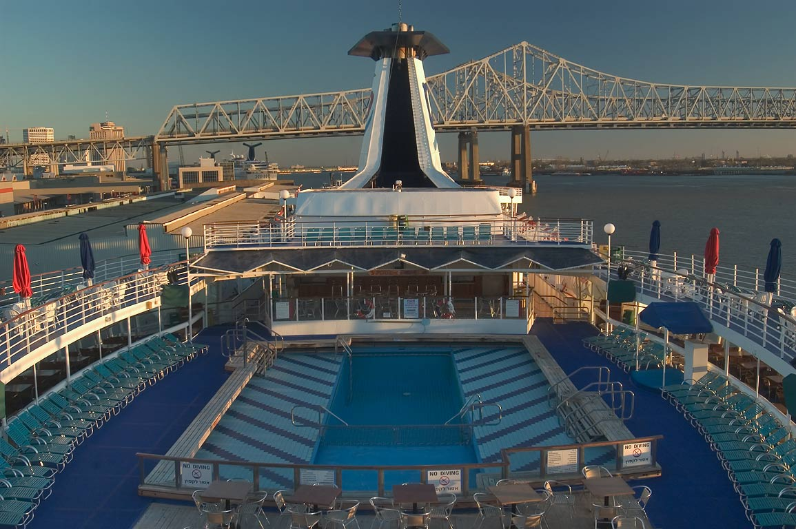 "Upper deck of a cruise ship ""Dream Princess...St. wharf. New Orleans, Louisiana"